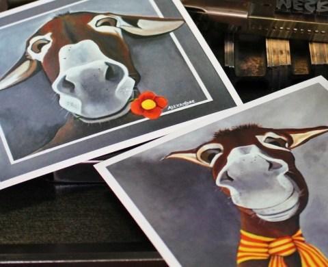 Cartes postales représentant le portrait d'ânes catalans