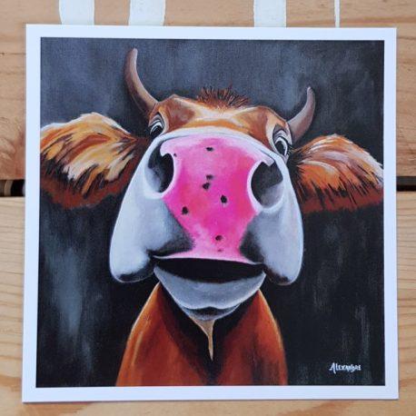 Carte postale Meulie représentant le portrait d'une vache