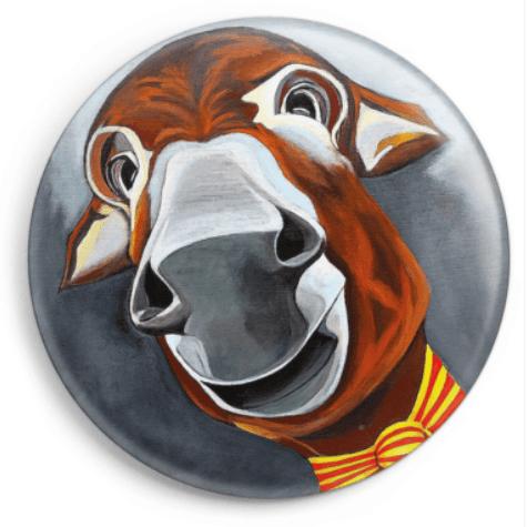 Le magnet Anatole représente le portrait d'un âne catalan, reproduction du tableau réalisé à l'acrylique par l'artiste peintre Carole Alexandre