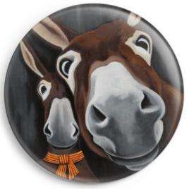 Le magnet Octave représente le portrait de deux ânes catalans, reproduction du tableau réalisé à l'acrylique par l'artiste peintre Carole Alexandre