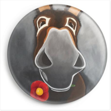 Le magnet de Balou représente le portrait d'un âne catalan. Reproduction du tableau réalisé à l'acrylique par l'artiste peintre Carole Alexandre.