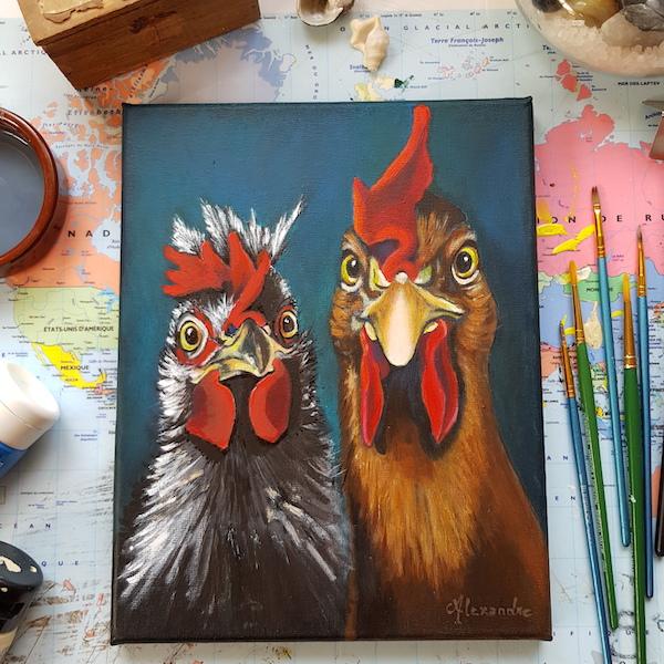 """Tableau de Carole Alexandre représentant le portrait d'un coq et sa poule . C'est le onzième de la série : Viens ma poule, on se casse ...!"""""""
