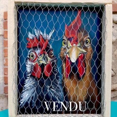 Tableau de l'artiste peintre Carole Alexandre représentant le portrait d'un coq et sa poule enfermés dans un poulailler.