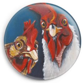 """Magnet représentant le portrait d'une poule et d'un coq, reproduction du tableau réalisé à l'acrylique par l'artiste peintre Carole Alexandre. Le troisième de la série """"Viens ma poule, on se casse ...!"""""""