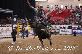 Cody Jesus riding at the Tuff Hedeman Championship Bull Riding at the South Point Casino and Arena in Las Vegas, Nevada.