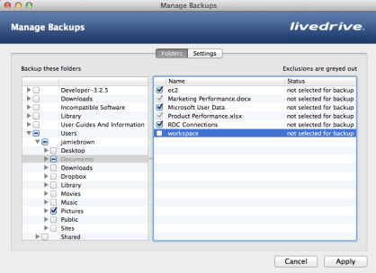 The existing Backup Management screen with selections
