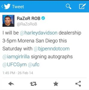 BJ Penn, Rob McCullough, Liz Carmouche Signings at Harley Morena CA on 3/1/14