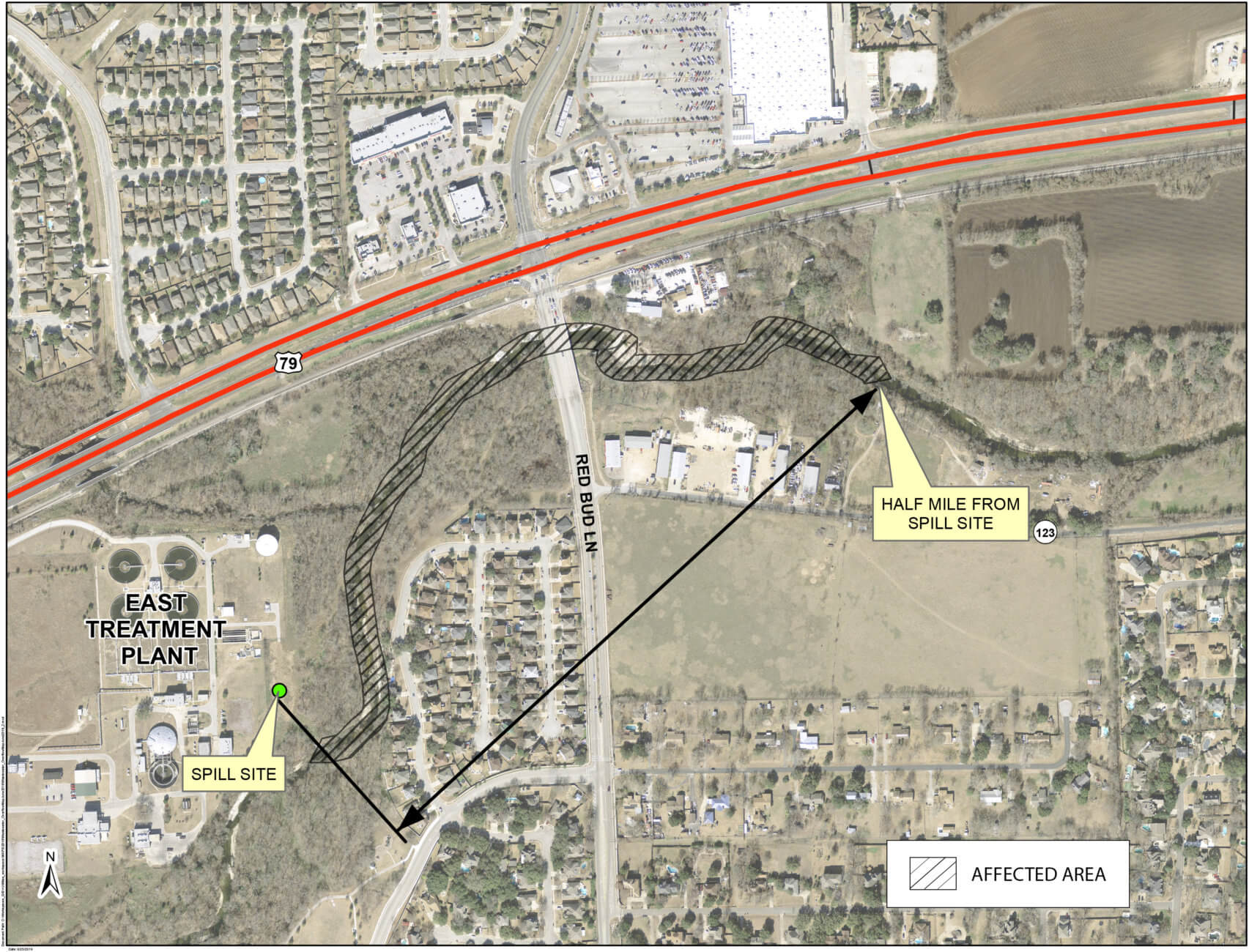 map showing affected area of wastewater spill