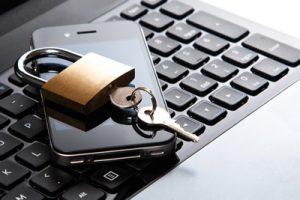 keyboard, phone and padlock
