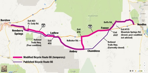 Map Of California Route 66.California To Allow Bicycles On Interstate 40 Route 66 News