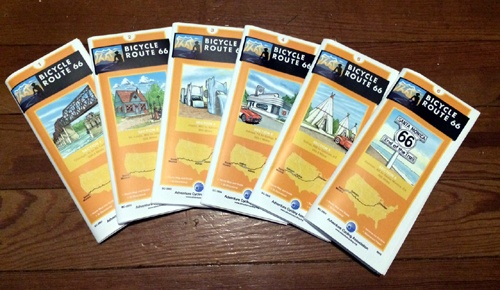 A closer look at the Bicycle Route 66 map set