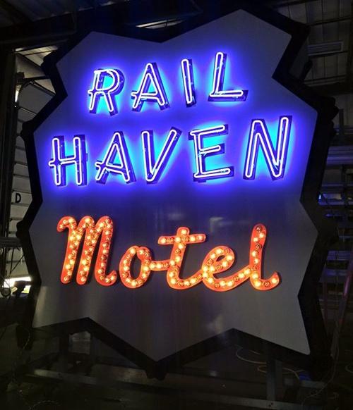 Rail Haven sign lit