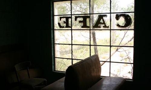 """CAFE"" window panes apparently stolen from Glenrio landmark"