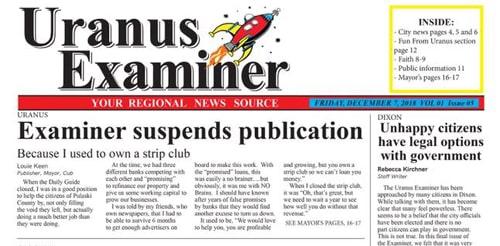 The Uranus Examiner newspaper suspends publication
