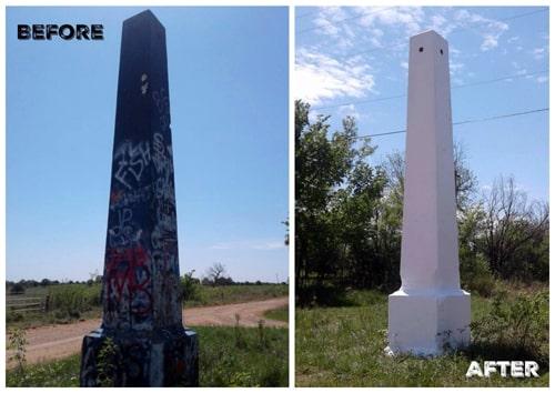 Ozark Trail obelisk near Stroud cleaned of graffiti