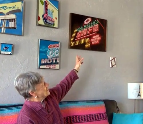 Artist does her own form of preserving Route 66 neon signs by painting them