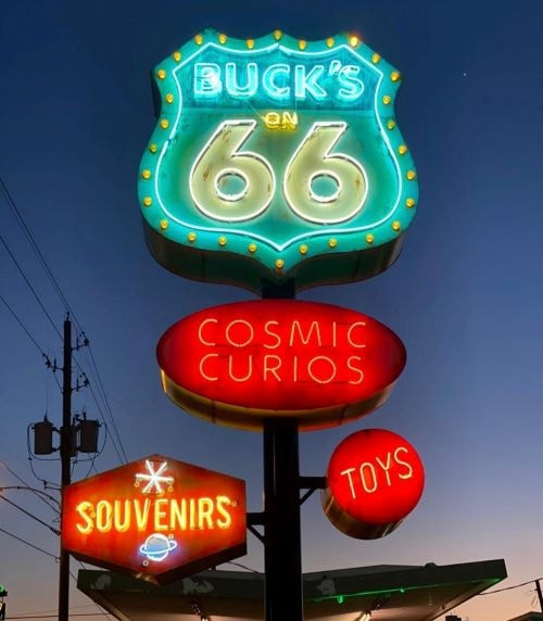Buck Atom's Cosmic Curios in Tulsa throws the switch on its new neon sign