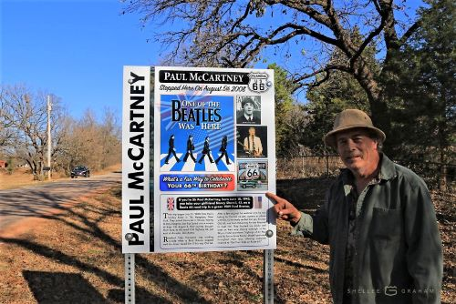New sign marks Paul McCartney's brief stop on Route 66 in Oklahoma