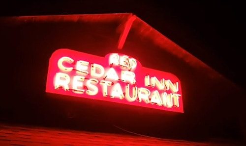 Restoration completed on Red Cedar Inn's neon sign near Pacific, Missouri