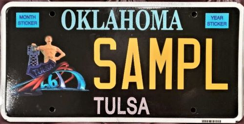 Tulsa resident tries to draw interest for his license-plate design that incorporates Route 66 Rising sculpture, Golden Driller