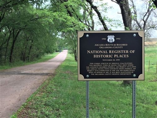 New signs on Old Route 66 near Arcadia commemorate National Register designation