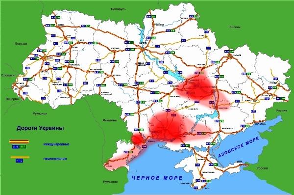 Список закрытых дорог, карта 2014