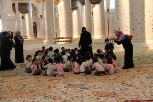 A school class visiting the Sheikh Zayed Grand Mosque