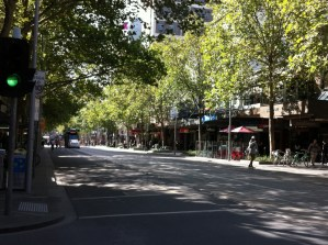 A street view of Melbourne CBD