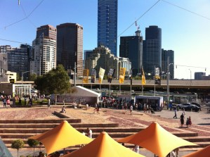 Federation Square and Melbourne skyscrapers