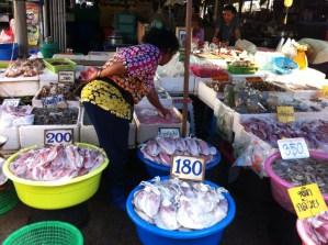 Selling seafood at Ban Phe