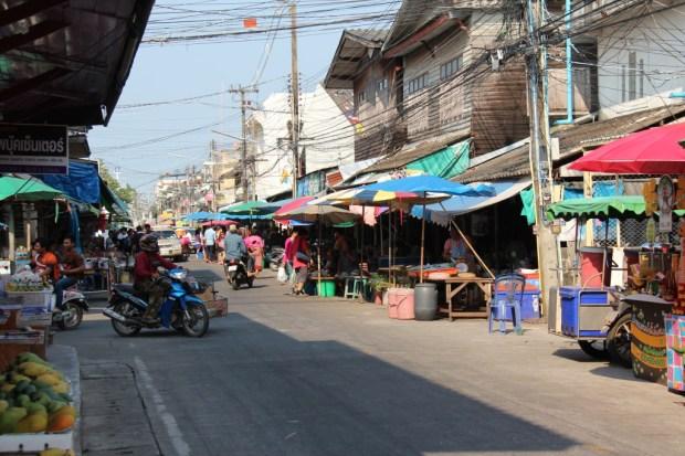 A busy street in Ban Phe, Thailand