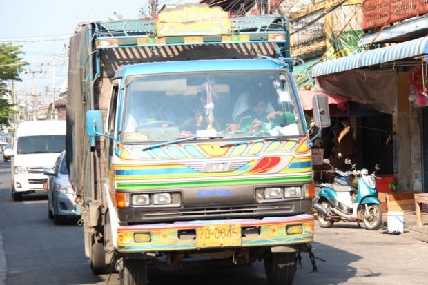 Truck driving through Ban Phe, Thailand