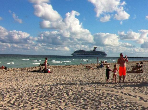 Caribbean cruiser leaving Miami harbor