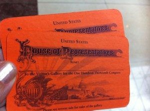 Tickets to the House of Representatives, US Capitol