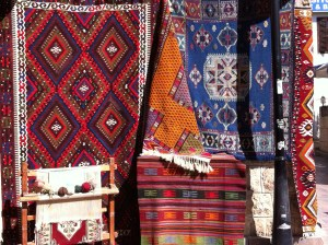 Turkish carpets sold in Antalya Old Town