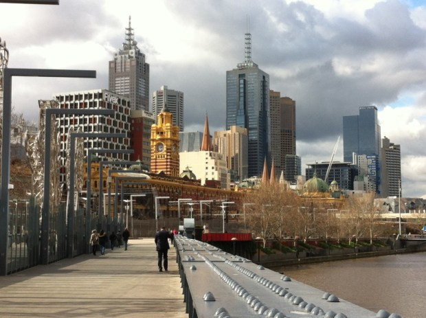 Flinders Street Station from a Yarra bridge