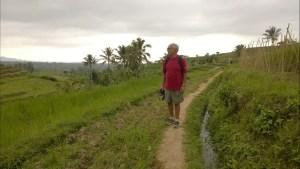 Walking on Bali rice terraces