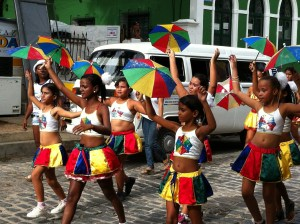 Olinda Carnival parade and umbrellas