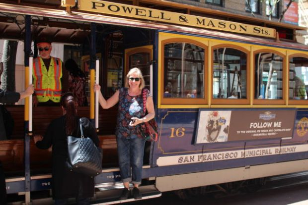 Traveling on San Fransisco cable car