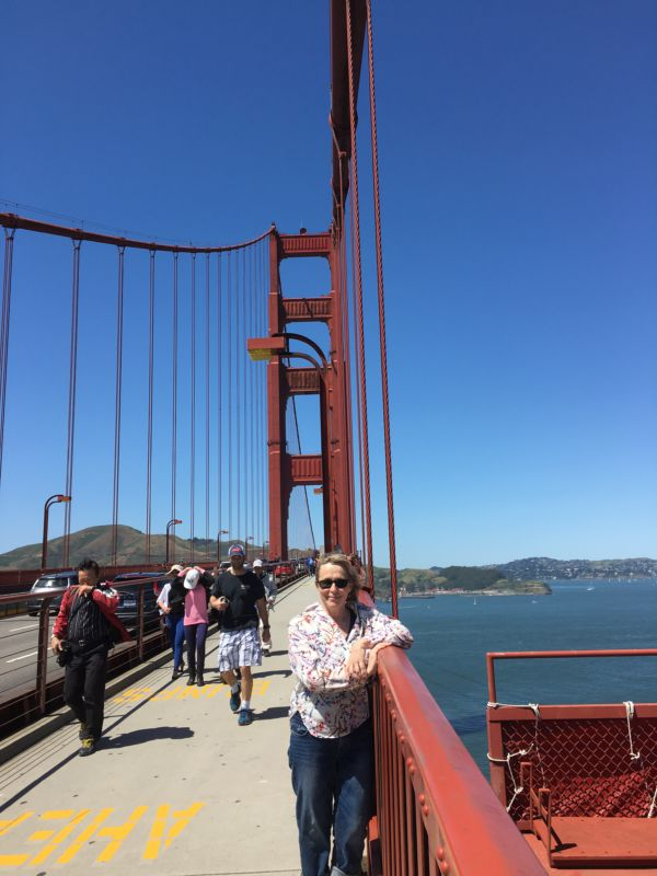 Walking on Golden Gate Bridge