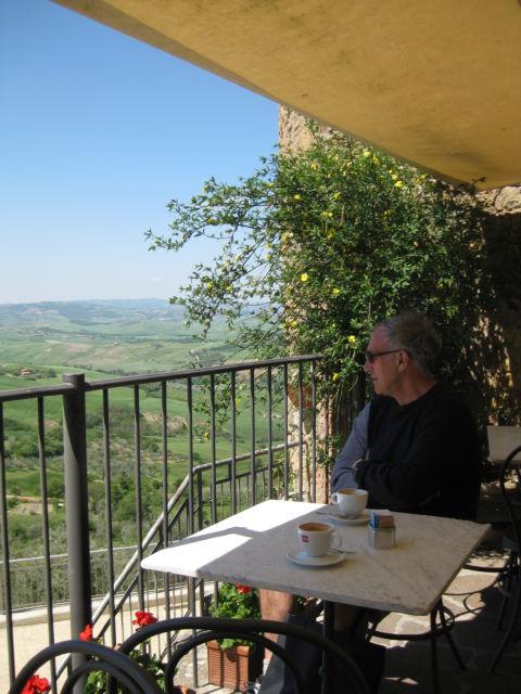 Tuscany scenic drive: sitting at a Monticchiello cafe