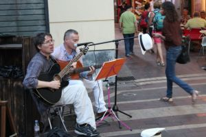 Street musicians in Nice Old Town France