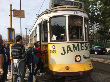 Touring Lisbon on tram 28, Estrela tram stop