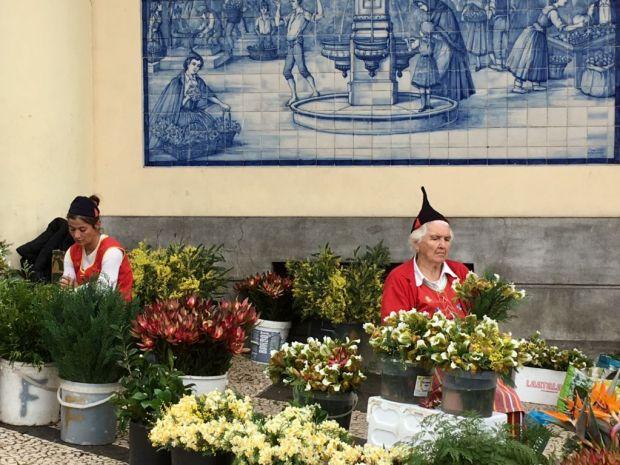 Exploring Funchal sights Mercado flower sellers