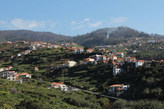 Walking on Calheta hills Western Madeira