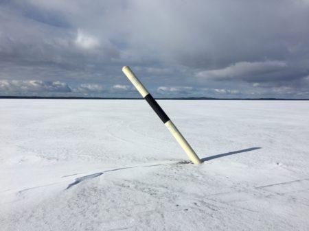 No boats on the winter lake