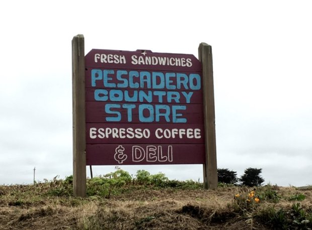 Pescadero Country Store road sign