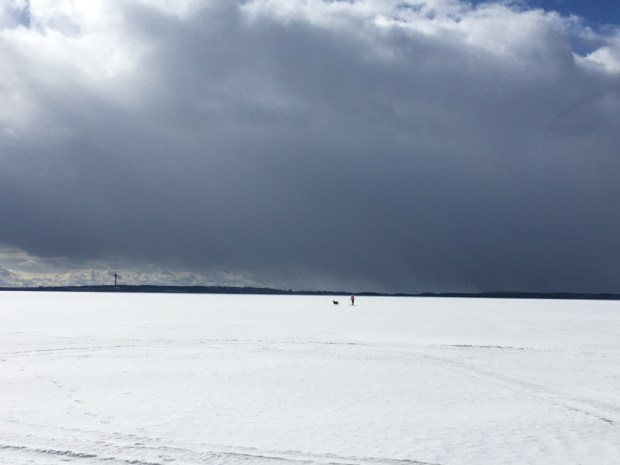 Winter in Finland, walking on the lake