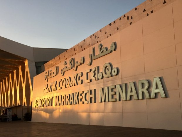 Marrakech Menara airport three language sign