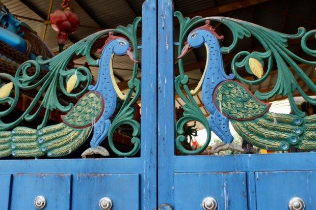 Hindu temple peacock gate